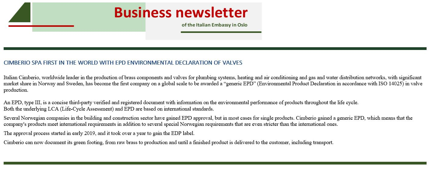 Cimberio S.p.A. first in the world with EPD environmental declaration of valves